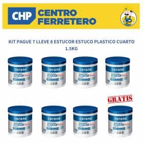 KIT PAGUE 7 LLEVE 8 ESTUCOR ESTUCO PLASTICO CUARTO 1.5KG Corona - 1